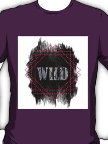 Wild- snake word on black texture T-Shirt