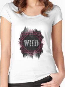 Wild- snake word on black texture Women's Fitted Scoop T-Shirt