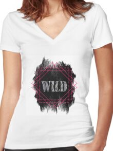 Wild- snake word on black texture Women's Fitted V-Neck T-Shirt