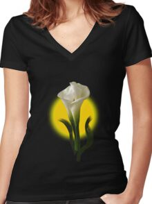 Flower Abstract! Women's Fitted V-Neck T-Shirt