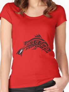 Northwest Native Indian fish totem (horizontal) Women's Fitted Scoop T-Shirt