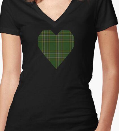 Irish National Fashion Tartan Women's Fitted V-Neck T-Shirt