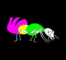Brightly Colored Ant by piedaydesigns