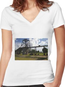 Old Mining Equipment  Women's Fitted V-Neck T-Shirt
