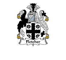Coat of arms (family crest) for last-name or surname Fletcher . Heraldry banner for your name. Photographic Print