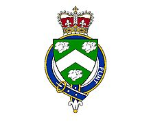 Coat of arms (family crest) for last-name or surname Flint (Scotland) . Heraldry banner for your name. Photographic Print