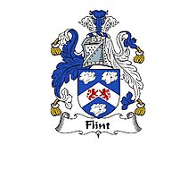 Coat of arms (family crest) for last-name or surname Flint . Heraldry banner for your name. Photographic Print