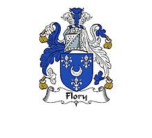 Coat of arms (family crest) for last-name or surname Flory or Fleury . Heraldry banner for your name. Photographic Print