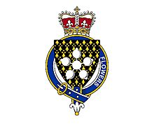 Coat of arms (family crest) for last-name or surname Flowers (England) . Heraldry banner for your name. Photographic Print