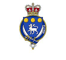 Coat of arms (family crest) for last-name or surname Flynn (Ireland) . Heraldry banner for your name. Photographic Print