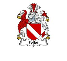 Coat of arms (family crest) for last-name or surname Foliot . Heraldry banner for your name. Photographic Print