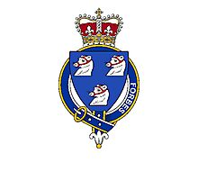 Coat of arms (family crest) for last-name or surname Forbes (Scotland) . Heraldry banner for your name. Photographic Print