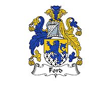 Coat of arms (family crest) for last-name or surname Ford . Heraldry banner for your name. Photographic Print