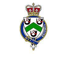 Coat of arms (family crest) for last-name or surname Forster or Foster (England) . Heraldry banner for your name. Photographic Print