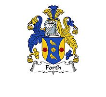 Coat of arms (family crest) for last-name or surname Forth . Heraldry banner for your name. Photographic Print