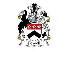 Coat of arms (family crest) for last-name or surname Fowell or Vowell . Heraldry banner for your name. Photographic Print