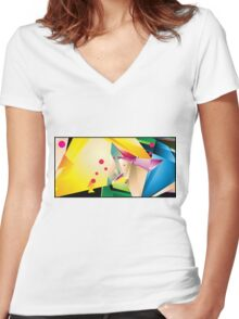 Abstract Design (Small Graphic) Women's Fitted V-Neck T-Shirt