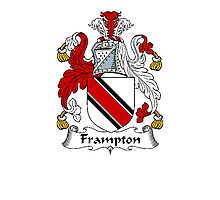 Coat of arms (family crest) for last-name or surname Frampton . Heraldry banner for your name. Photographic Print