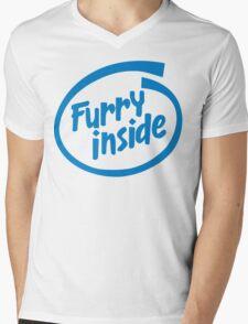 Furry Inside Mens V-Neck T-Shirt