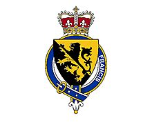 Coat of arms (family crest) for last-name or surname Francis (England) . Heraldry banner for your name. Photographic Print
