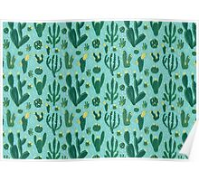 Cactus Fields - Blue Poster
