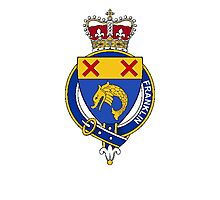 Coat of arms (family crest) for last-name or surname Franklin (England) . Heraldry banner for your name. Photographic Print