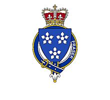 Coat of arms (family crest) for last-name or surname Fraser (Scotland) . Heraldry banner for your name. Photographic Print
