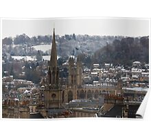 Snow-covered Bath, UK  Poster