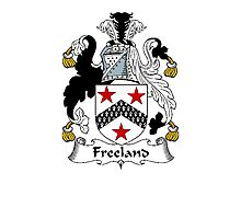 Coat of arms (family crest) for last-name or surname Freeland . Heraldry banner for your name. Photographic Print