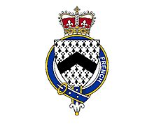 Coat of arms (family crest) for last-name or surname French (Ireland) . Heraldry banner for your name. Photographic Print
