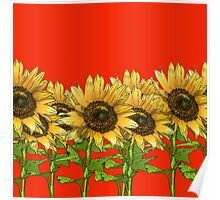 Sunflowers Red Poster