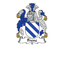 Coat of arms (family crest) for last-name or surname Frene . Heraldry banner for your name. Photographic Print
