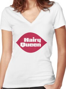 Hairy Queen Parody Logo Women's Fitted V-Neck T-Shirt