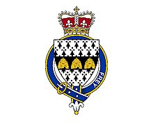 Coat of arms (family crest) for last-name or surname Frey or Fraye (England) . Heraldry banner for your name. Photographic Print