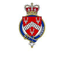 Coat of arms (family crest) for last-name or surname Friend or Frend (England) . Heraldry banner for your name. Photographic Print