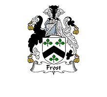 Coat of arms (family crest) for last-name or surname Frost . Heraldry banner for your name. Photographic Print
