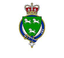 Coat of arms (family crest) for last-name or surname Fry (England) . Heraldry banner for your name. Photographic Print
