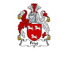 Coat of arms (family crest) for last-name or surname Fry or Frye . Heraldry banner for your name. Photographic Print