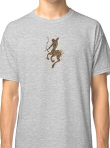 Rustic Sagittarius Zodiac Sign on Black Classic T-Shirt