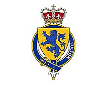 Coat of arms (family crest) for last-name or surname Fulton (England) . Heraldry banner for your name. Photographic Print