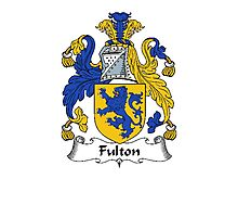 Coat of arms (family crest) for last-name or surname Fulton . Heraldry banner for your name. Photographic Print