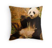 Wang Wang the panda eating bamboo Throw Pillow