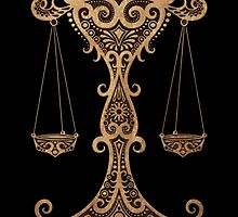 Rustic Libra Zodiac Sign on Black by Jeff Bartels