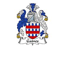 Coat of arms (family crest) for last-name or surname Gaines . Heraldry banner for your name. Photographic Print
