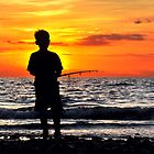 Fishing At Sunset by Komang