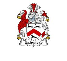 Coat of arms (family crest) for last-name or surname Gainsford . Heraldry banner for your name. Photographic Print
