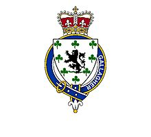 Coat of arms (family crest) for last-name or surname Gallagher (Ireland) . Heraldry banner for your name. Photographic Print