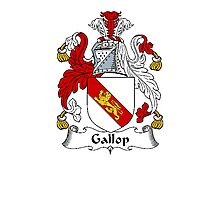 Coat of arms (family crest) for last-name or surname Gallop . Heraldry banner for your name. Photographic Print