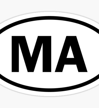 Massachusetts - MA - oval sticker and more Sticker