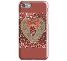 Gold Lace Heart Orange Glitter iPhone Case/Skin